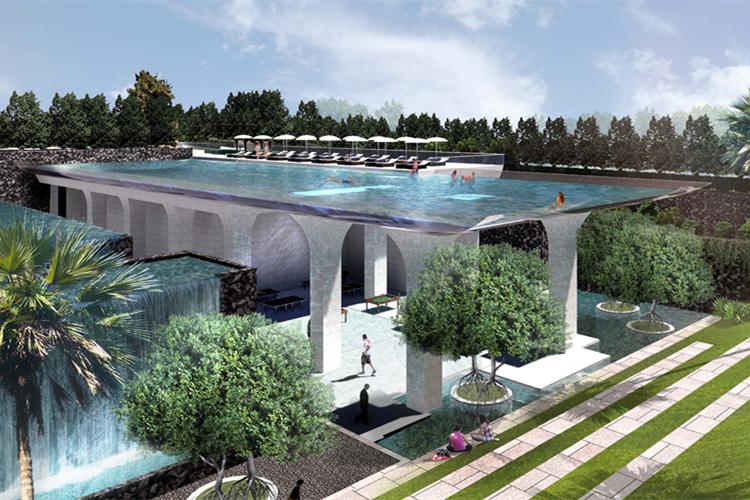 亚克力无边透明空中玻璃泳池设计生产厂家