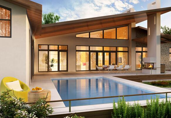 现代极简游泳池设计,瑞地格乐亚克力游泳池
